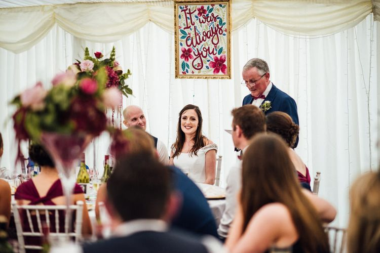 Raspberry, Gold & Navy Colour Palette Marquee Wedding With Suzanne Neville Bride & Bridesmaids In Raspberry Multiway Dresses Images From Michelle Wood