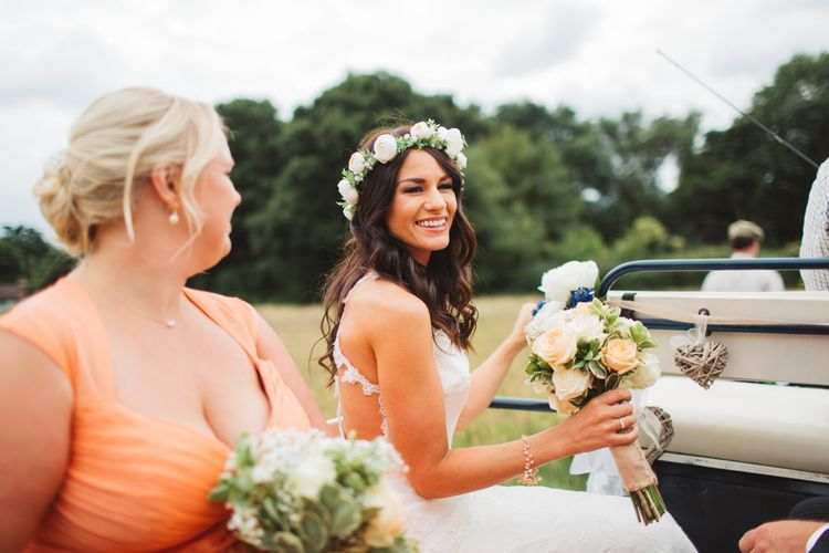 Bride In Bespoke Wedding Dress With Floral Crown