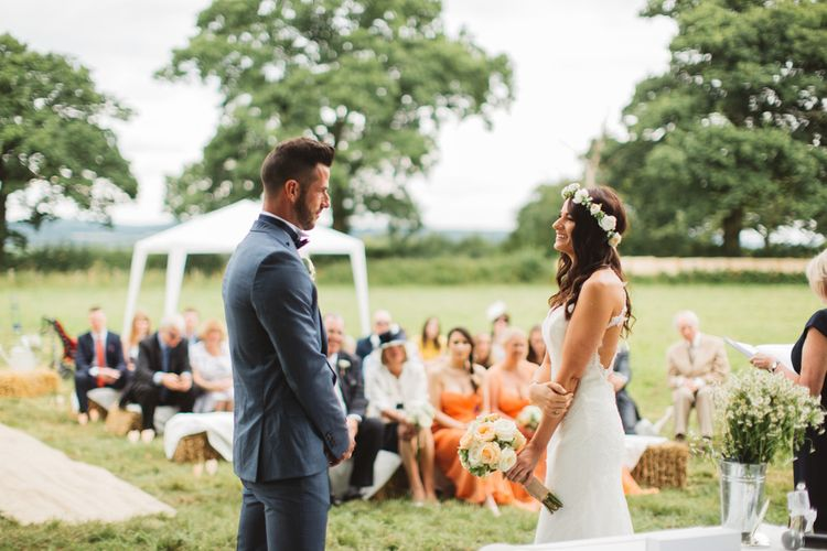 Rustic Wedding With Outdoor Ceremony And Hay Bale Seating Area