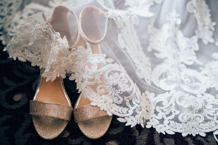 Kurt Geiger 'Pearl' Bridal Shoes   Pastel Wedding at Parkside School in Surrey   Nikki van der Molen Photography   The Modern Revelry Film