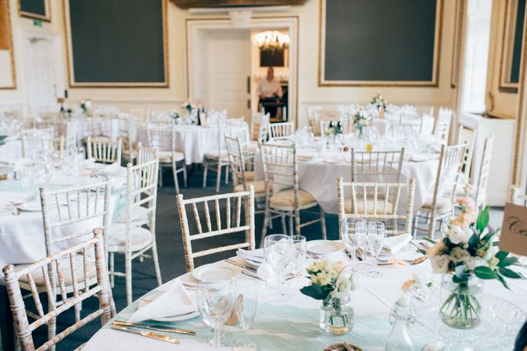 Peach & White Reception Decor   Pastel Wedding at Parkside School in Surrey   Nikki van der Molen Photography   The Modern Revelry Film