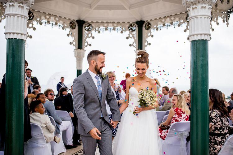 Brighton Bandstand Wedding Ceremony | Confetti Exit