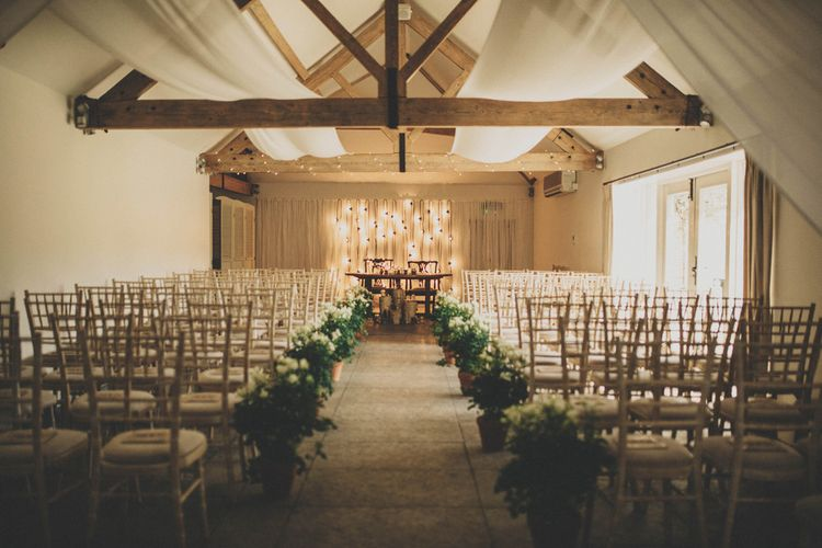 Ceremony Room at Farbridge Farm with Wild Flower & Greenery Aisle Decor
