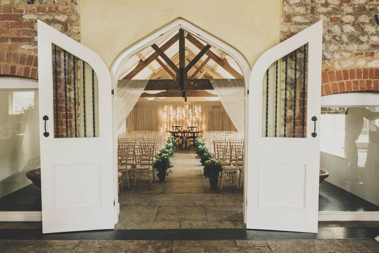 Ceremony Room at Farbridge Farm with Greenery Aisle Decor