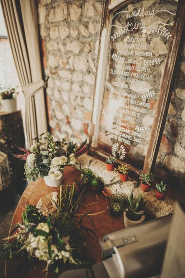 Glass Menu with Rustic Decor