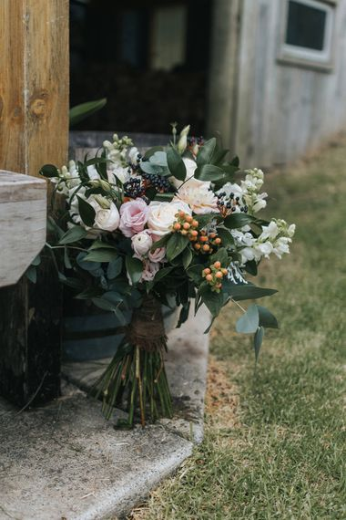 Greenery & Peach Bouquet | Outdoor Coastal Wedding at Ohawini Bay in New Zealand with Natural Garden Party Reception | Miss Gen Photography