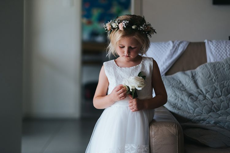 Flower Girl | Outdoor Coastal Wedding at Ohawini Bay in New Zealand with Natural Garden Party Reception | Miss Gen Photography