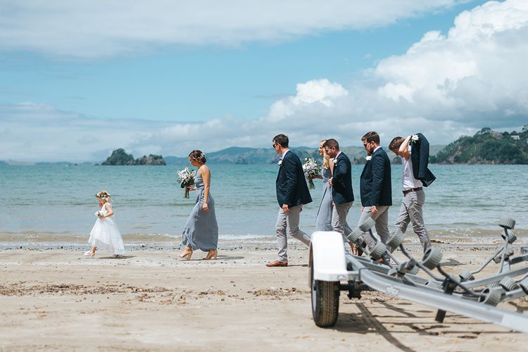 Wedding Party | Bridesmaids in Powder Blue Evolution Clothing Dresses | Groomsmen in Chinos & Blazers | Outdoor Coastal Wedding at Ohawini Bay in New Zealand with Natural Garden Party Reception | Miss Gen Photography