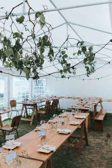 Marquee Reception with Wood, Greenery & Festoon Light Decor | Outdoor Coastal Wedding at Ohawini Bay in New Zealand with Natural Garden Party Reception | Miss Gen Photography