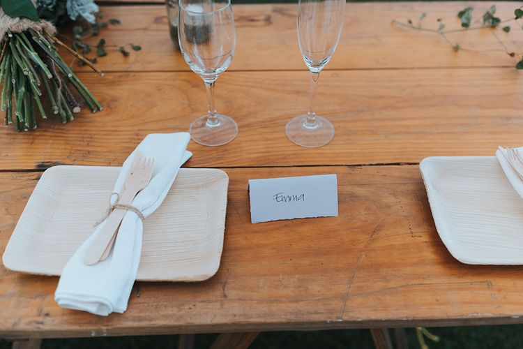 Place Setting | Outdoor Coastal Wedding at Ohawini Bay in New Zealand with Natural Garden Party Reception | Miss Gen Photography