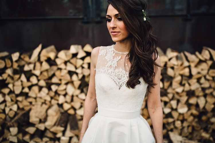 Bride in Lace Back Jesús Peiró Wedding Dress from Miss Bush Bridal Boutique