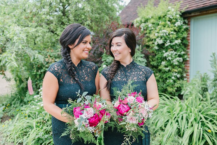 Bridesmaids In Forest Green Dresses