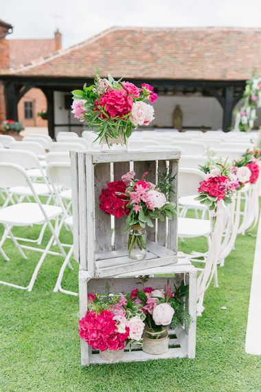 Rustic Wedding Decor Wooden Crates With Pink Flowers