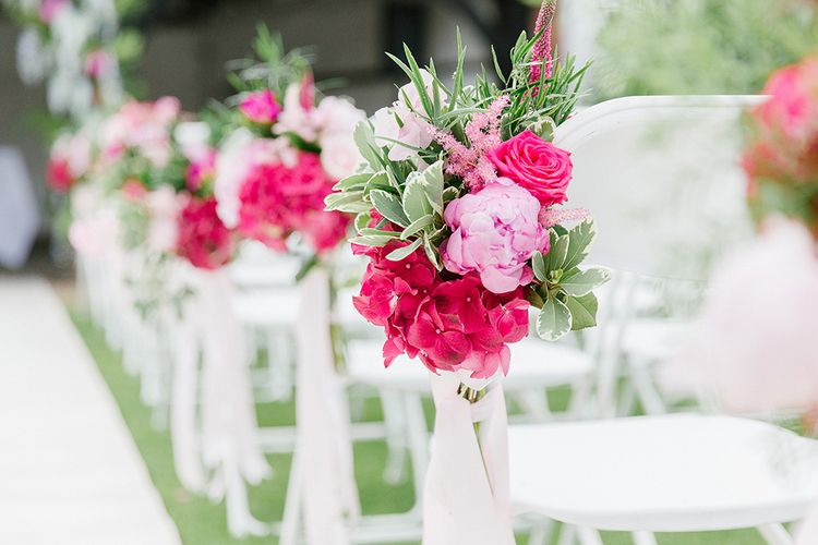 Pink Floral Chair Backs For Wedding