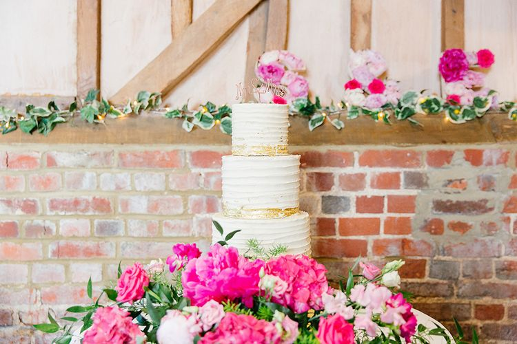 Buttercream Wedding Cake with Gold & Pink Detail