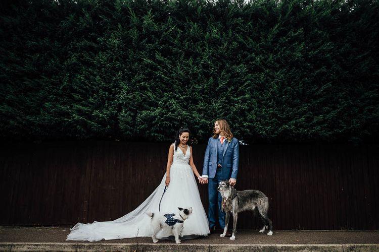 Bride & Groom With Their Dogs