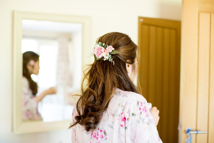Bridal Half Up Half Down Do with Fresh Flowers