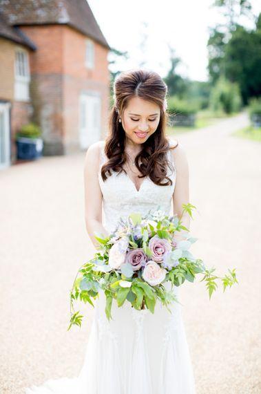 Elegant Bride in Pronovias Wedding Dress with Darling & Wild Romantic Bouquet