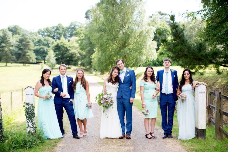 Wedding Party | Bride in Pronovias Gown & Groom Navy in Kin by John Lewis Suit