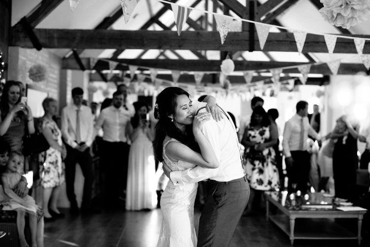Bride in Pronovias Gown & Groom Navy in Kin by John Lewis Suit First Dance