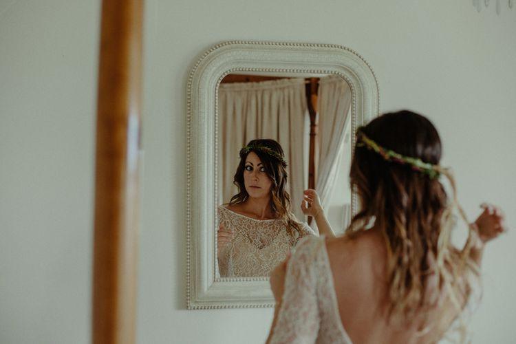 Bride in Sarah Seven Lace Wedding Dress | Isle of Sky Elopement Wedding | Wonderful & Strange Photography