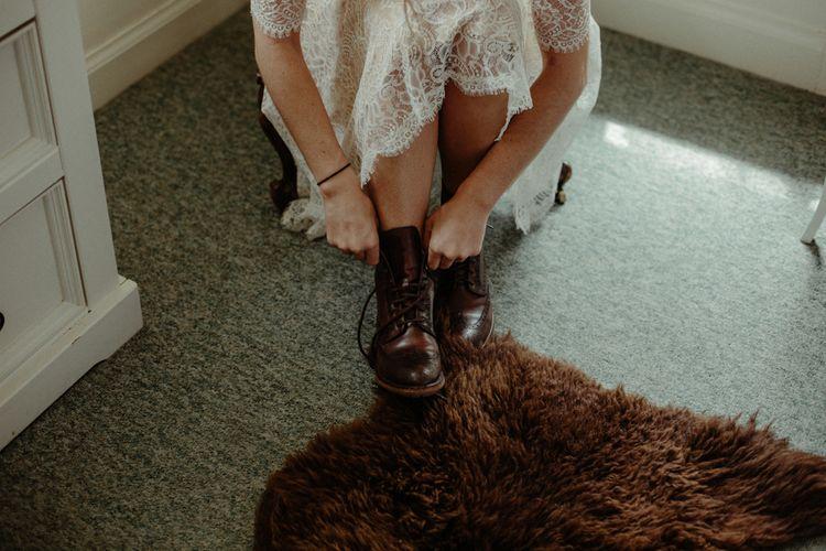Bridal Boots | Isle of Sky Elopement Wedding | Wonderful & Strange Photography