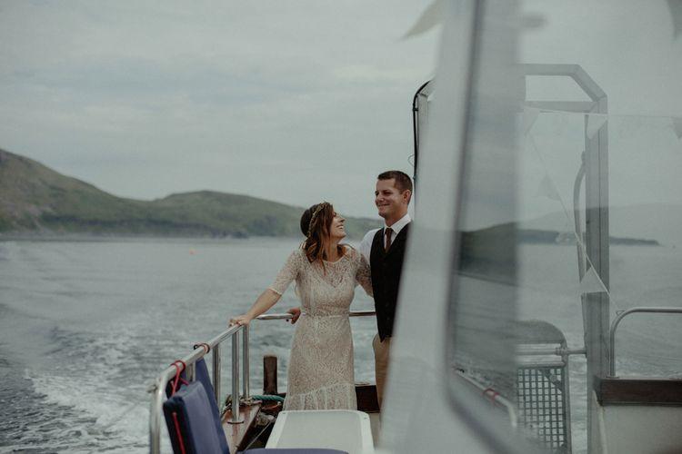 Bride & Groom on Boat Wedding Transport | Isle of Sky Elopement Wedding | Wonderful & Strange Photography