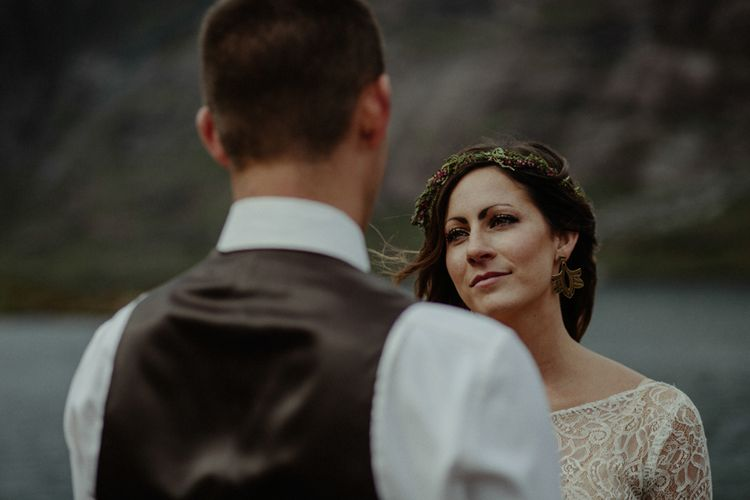 Wedding Cermeony | Bride in Sarah Seven Lace Wedding Dress | Groom in Walker Slater | Isle of Sky Elopement Wedding | Wonderful & Strange Photography