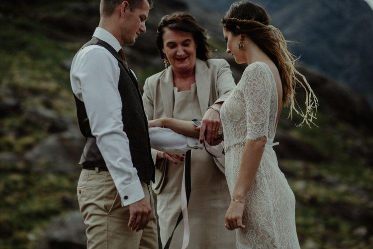 Wedding Ceremony | Bride in Sarah Seven Lace Wedding Dress | Groom in Walker Slater | Isle of Sky Elopement Wedding | Wonderful & Strange Photography