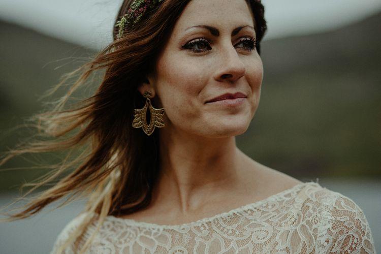 Boho Bride in Sarah Seven Lace Wedding Dress | Isle of Sky Elopement Wedding | Wonderful & Strange Photography