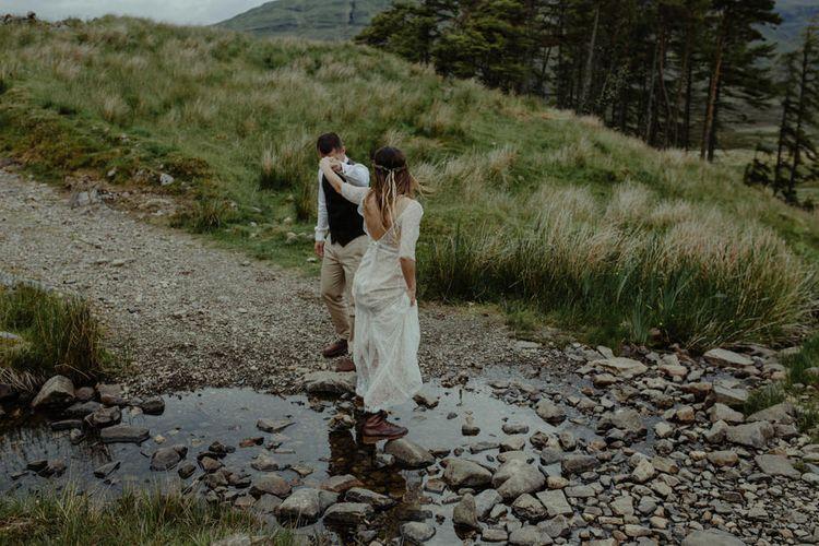 Bride in Sarah Seven Lace Wedding Dress | Groom in Walker Slater | Isle of Sky Elopement Wedding | Wonderful & Strange Photography
