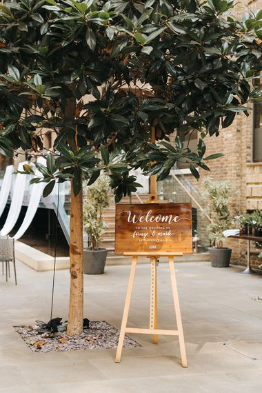Devonshire Terrace For A Stylish Green & White Wedding With Lots Of Foliage And Elegant Signage With Bride In Bespoke Pronovias And Images From Miss Gen