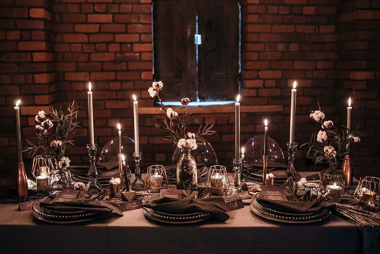 Candle Light Table Scape with Ghost Chairs & Glass Platters | Edison Lights | Industrial Wedding Inspiration at Victoria Warehouse in Manchester | Planning & Styling by The Urban Wedding Company | 2 Ducks Galleries