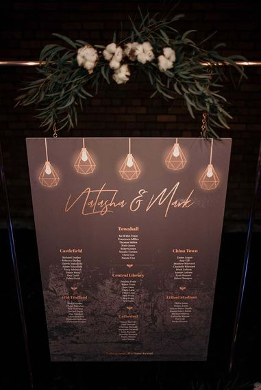 Gold Foil Table Plan & Edison Lights | Industrial Wedding Inspiration at Victoria Warehouse in Manchester | Planning & Styling by The Urban Wedding Company | 2 Ducks Galleries