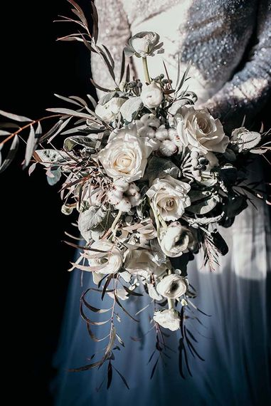 White Rose & Cotton Bud Bouquet | Stylish Bride | Industrial Wedding Inspiration at Victoria Warehouse in Manchester | Planning & Styling by The Urban Wedding Company | 2 Ducks Galleries