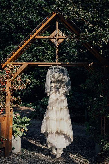 Bespoke Lace Boho Wedding Dress | DIY Woodland Wedding at Two Woods Estate in Sussex | PJ Phillips Photography