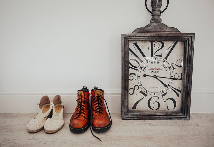 Wedding Shoes | DIY Woodland Wedding at Two Woods Estate in Sussex | PJ Phillips Photography