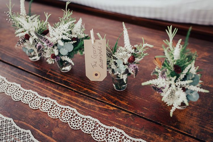 Wild Flower Buttonholes | DIY Woodland Wedding at Two Woods Estate in Sussex | PJ Phillips Photography