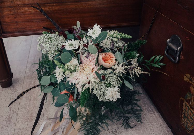 Oversized Bridal Bouquet with David Austin Roses, Dahlias & Eucalyptus | DIY Woodland Wedding at Two Woods Estate in Sussex | PJ Phillips Photography