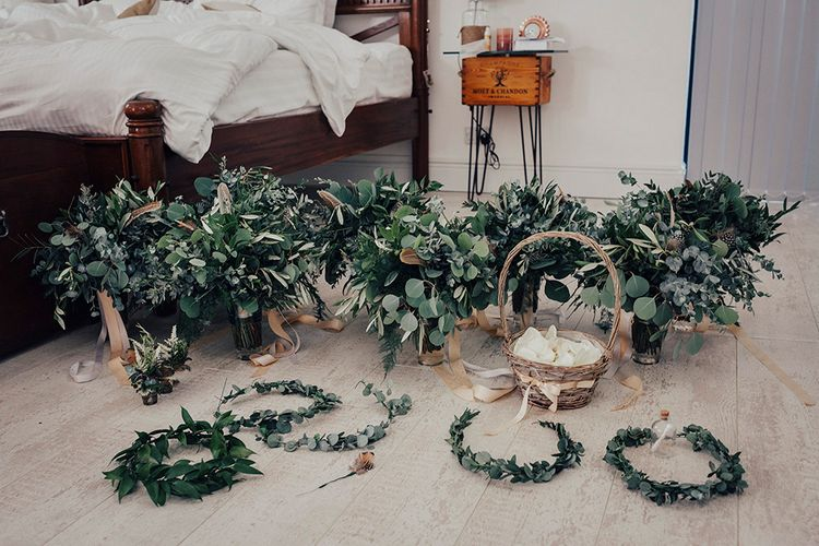 Greenery & Foliage Bridesmaid Bouquets & Flower Crowns | DIY Woodland Wedding at Two Woods Estate in Sussex | PJ Phillips Photography
