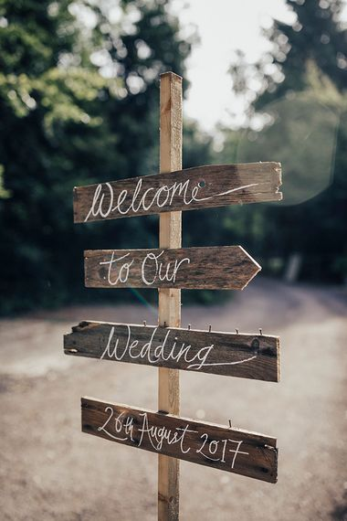Wooden Wedding Direction Sign Post | DIY Woodland Wedding at Two Woods Estate in Sussex | PJ Phillips Photography