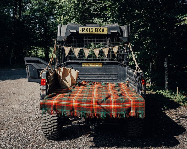 Wedding Transport Truck with Blanket & Bunting Decor | DIY Woodland Wedding at Two Woods Estate in Sussex | PJ Phillips Photography