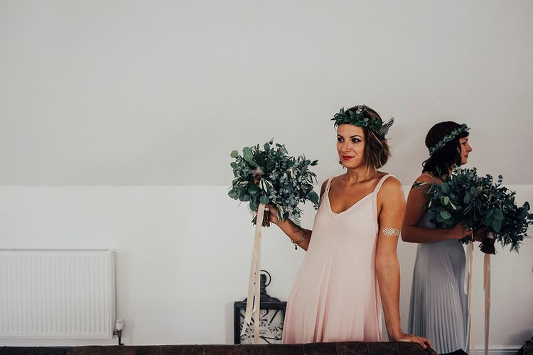 Bridesmaids in Pastel Pink Dress with Greenery Bouquet & Flower Crown | DIY Woodland Wedding at Two Woods Estate in Sussex | PJ Phillips Photography
