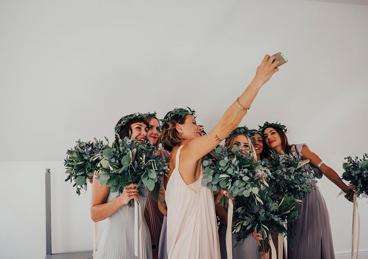 Bridesmaid Selfie | DIY Woodland Wedding at Two Woods Estate in Sussex | PJ Phillips Photography