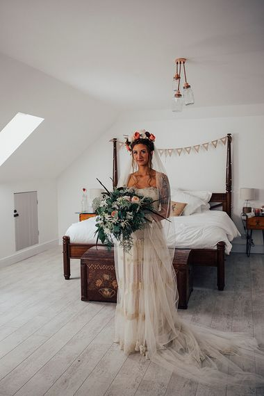 Boho Bride in Bespoke Lace Wedding Dress & Flower Crown | DIY Woodland Wedding at Two Woods Estate in Sussex | PJ Phillips Photography