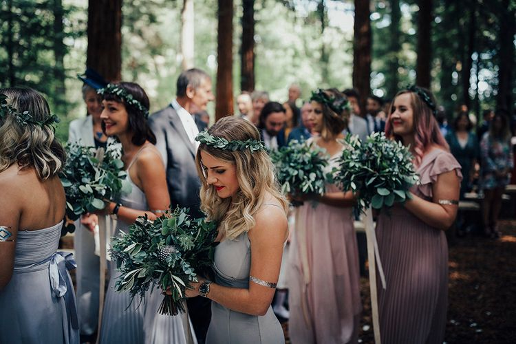 Bridesmaids in Different Pastel Dresses with Greenery Bouquets & Flower Crowns | DIY Woodland Wedding at Two Woods Estate in Sussex | PJ Phillips Photography