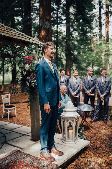 Groom at the Altar in Blue Suit | DIY Woodland Wedding at Two Woods Estate in Sussex | PJ Phillips Photography