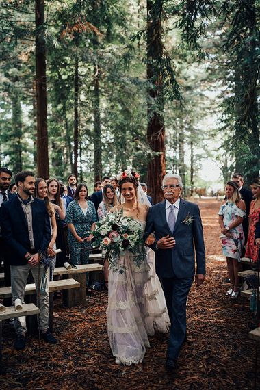 Wedding Ceremony Bridal Entrance in Bespoke Lace Gown & Flower Grown | DIY Woodland Wedding at Two Woods Estate in Sussex | PJ Phillips Photography