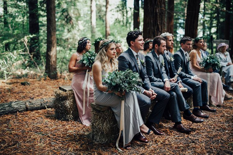 Wedding Ceremony | Wedding Party | DIY Woodland Wedding at Two Woods Estate in Sussex | PJ Phillips Photography