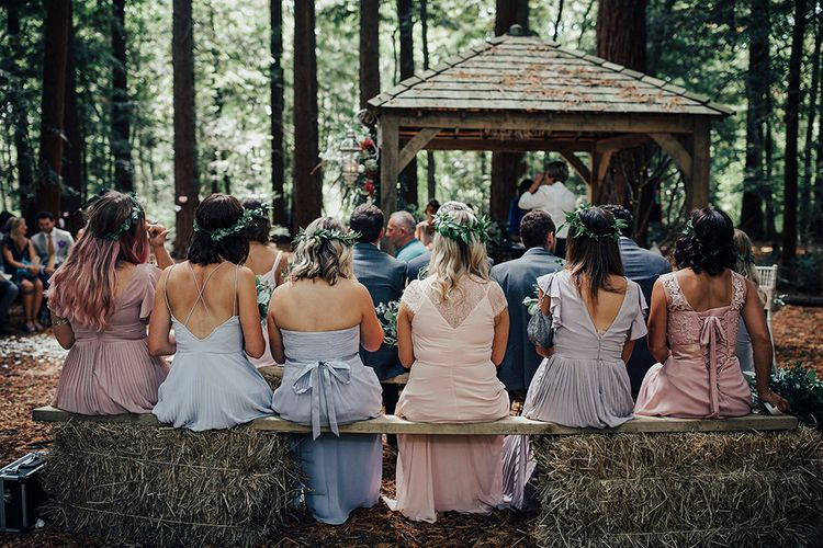 Wedding Ceremony | Bridesmaids in Different Pastel Dresses from the High Street | DIY Woodland Wedding at Two Woods Estate in Sussex | PJ Phillips Photography